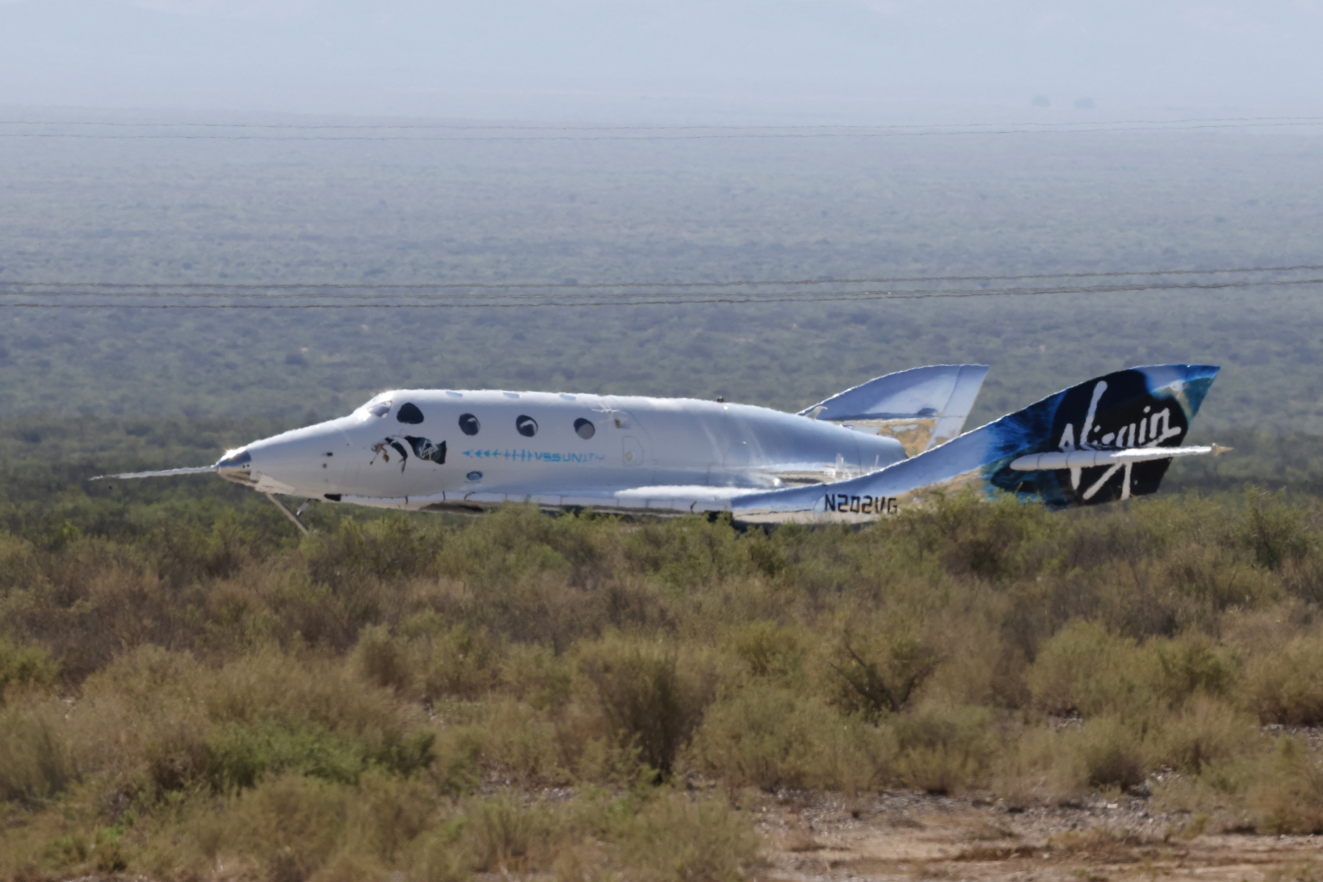 Virgin Galactic's passenger rocket plane VSS Unity, carrying billionaire entrepreneur Richard Branson and his crew.
