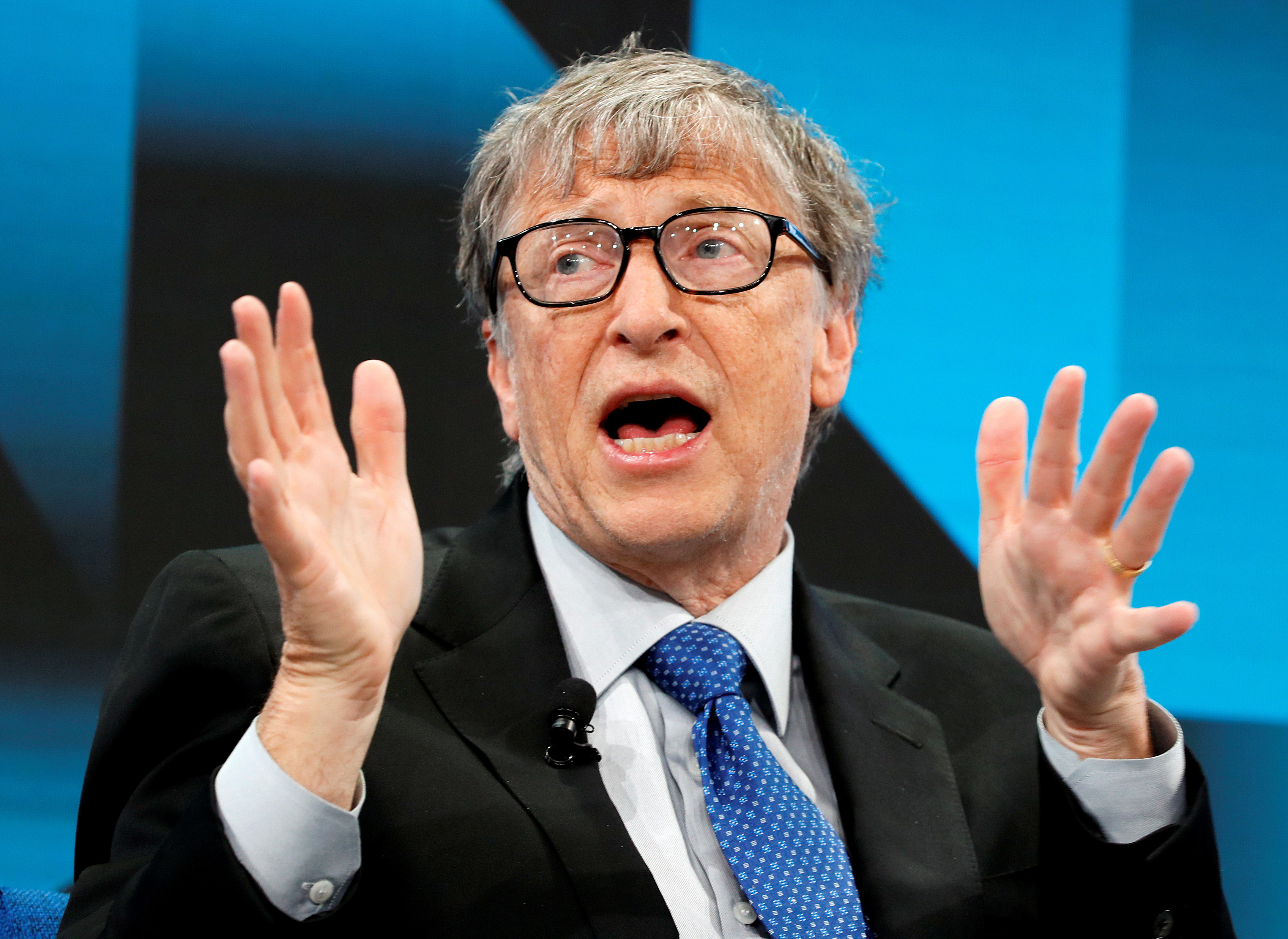 Bill Gates, Co-Chair of Bill & Melinda Gates Foundation, gestures as he speaks during the World Economic Forum (WEF) annual meeting in Davos, Switzerland, January 22, 2019. REUTERS/Arnd Wiegmann - RC145FC77E10