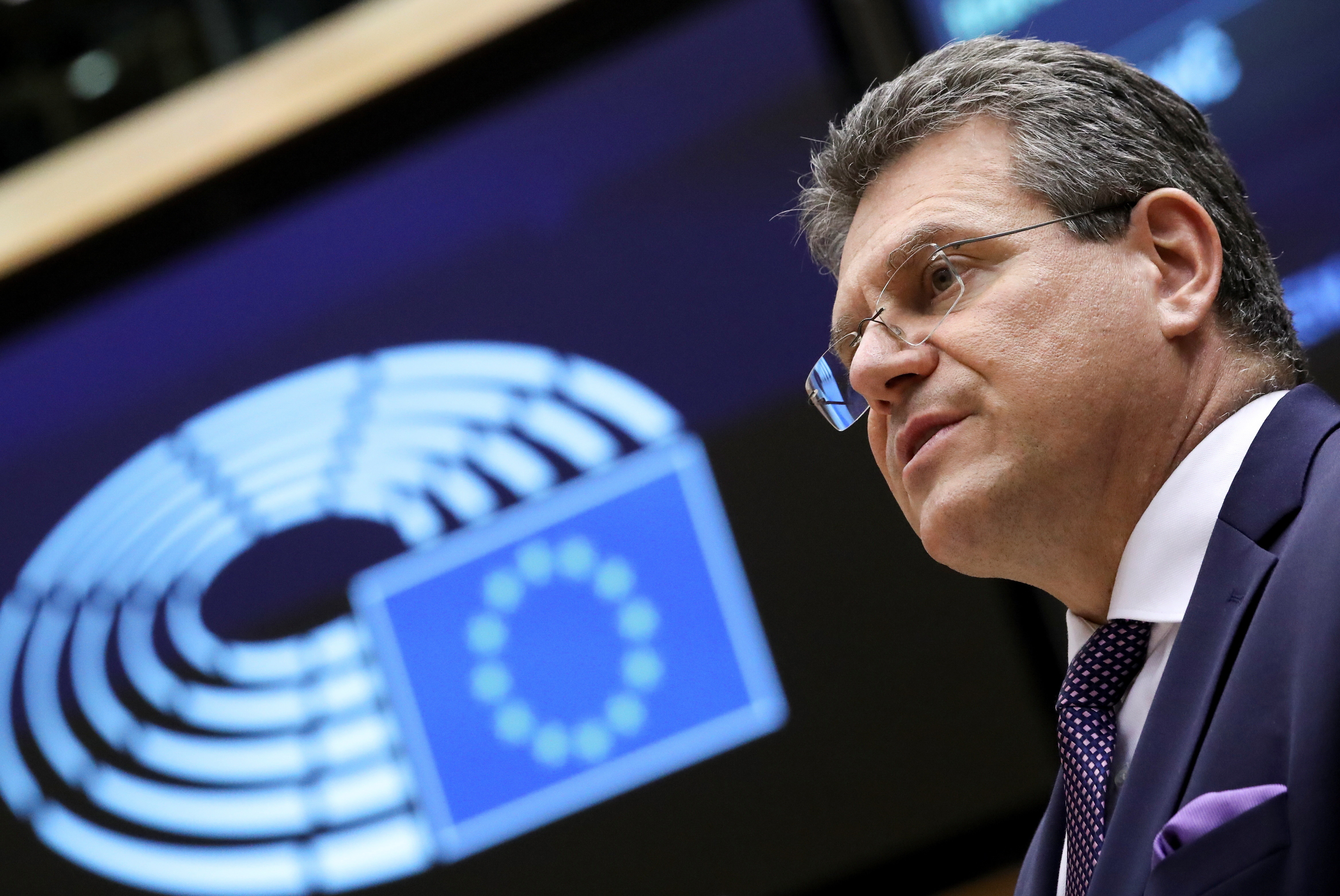 European Commission Vice President Maros Sefcovic addresses the EU Parliament in Brussels, Belgium March 25, 2021. REUTERS/Yves Herman/Pool - RC2FIM97SECR