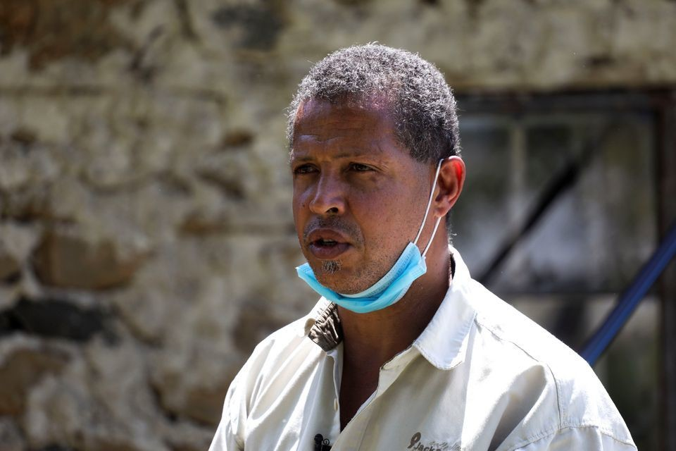 Entrepreneur Dominic Kahumbu speaks during an interview with Reuters, near the town of Kisumu, Kenya June 9, 2021.