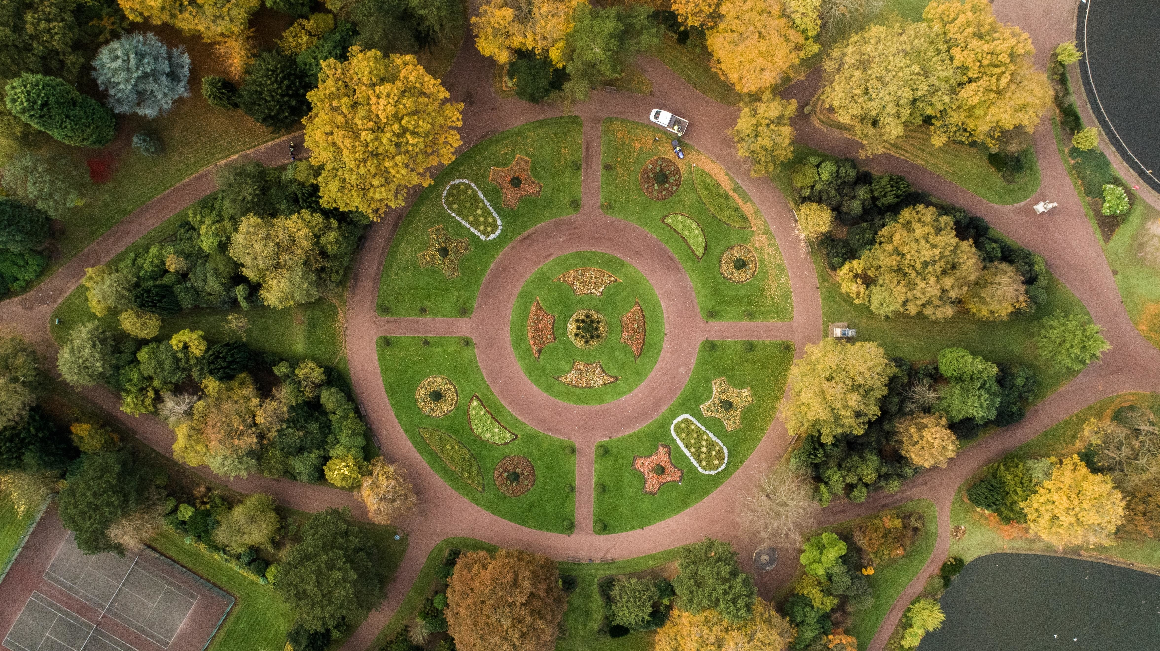 Circular park view from above.