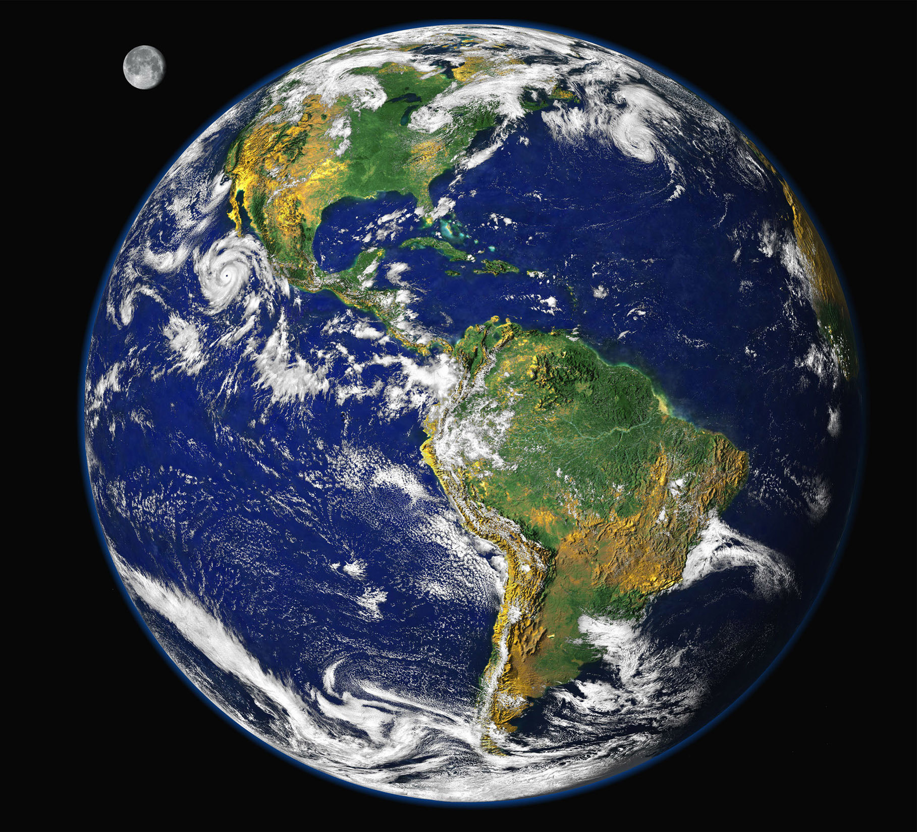 """To mark Earth Day on April 22, 2000, NASA scientists released this new image of the Earth, updating the famous """"Blue Marble"""" photograph taken by Apollo astronauts. The digital image uses data collected in 1997 from several satellites to approximate what a human could see from orbit, with the added artistic license of having the Moon in the background. The prominent storm raging off the west coast of North America is Hurricane Linda. The image of the Moon has been magnified to about twice its relative size.RC/PB - RP2DRHYHGPAB"""