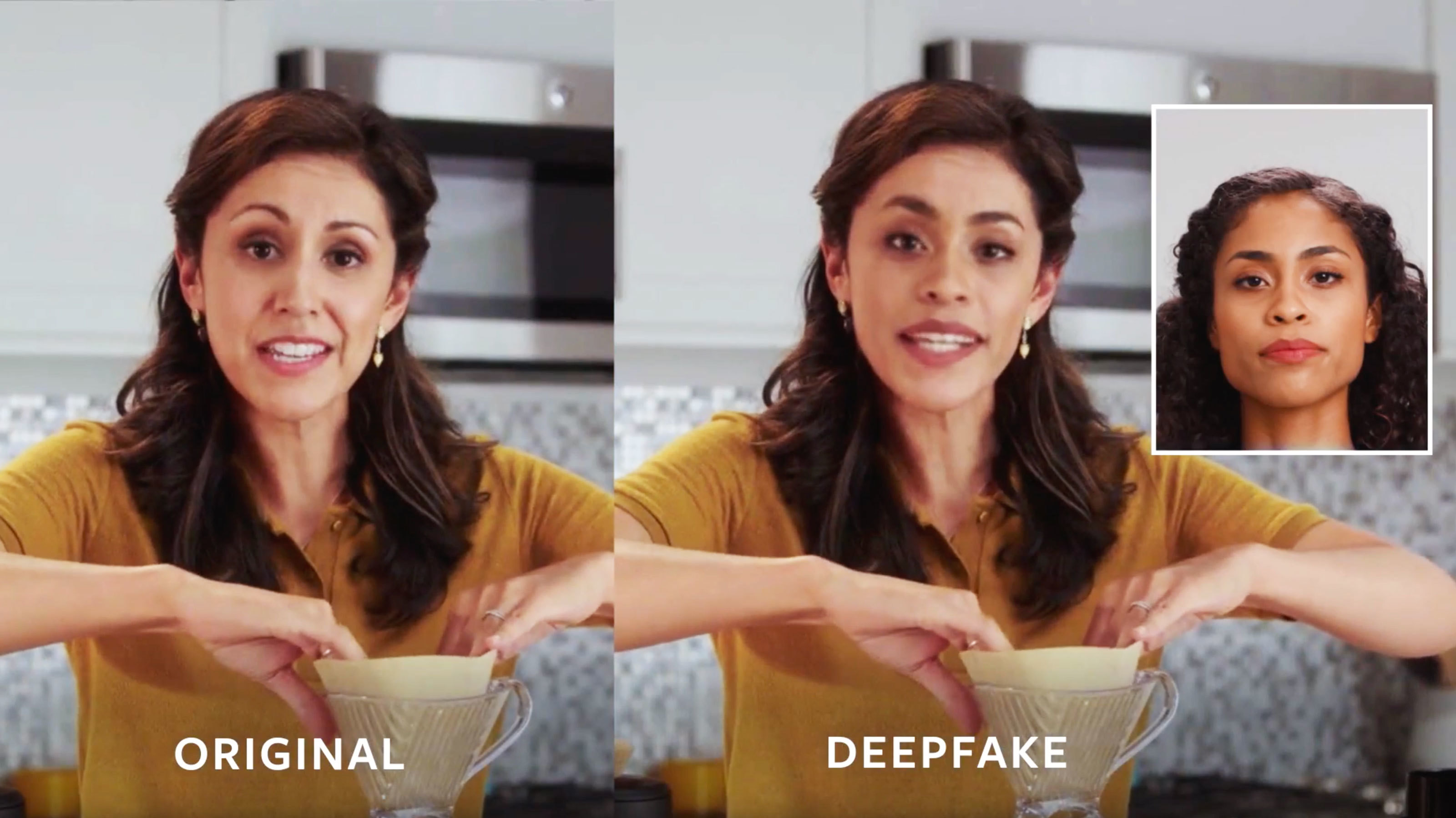 Example of deepfakes: original on the left, altered 'deep fake' on the right.
