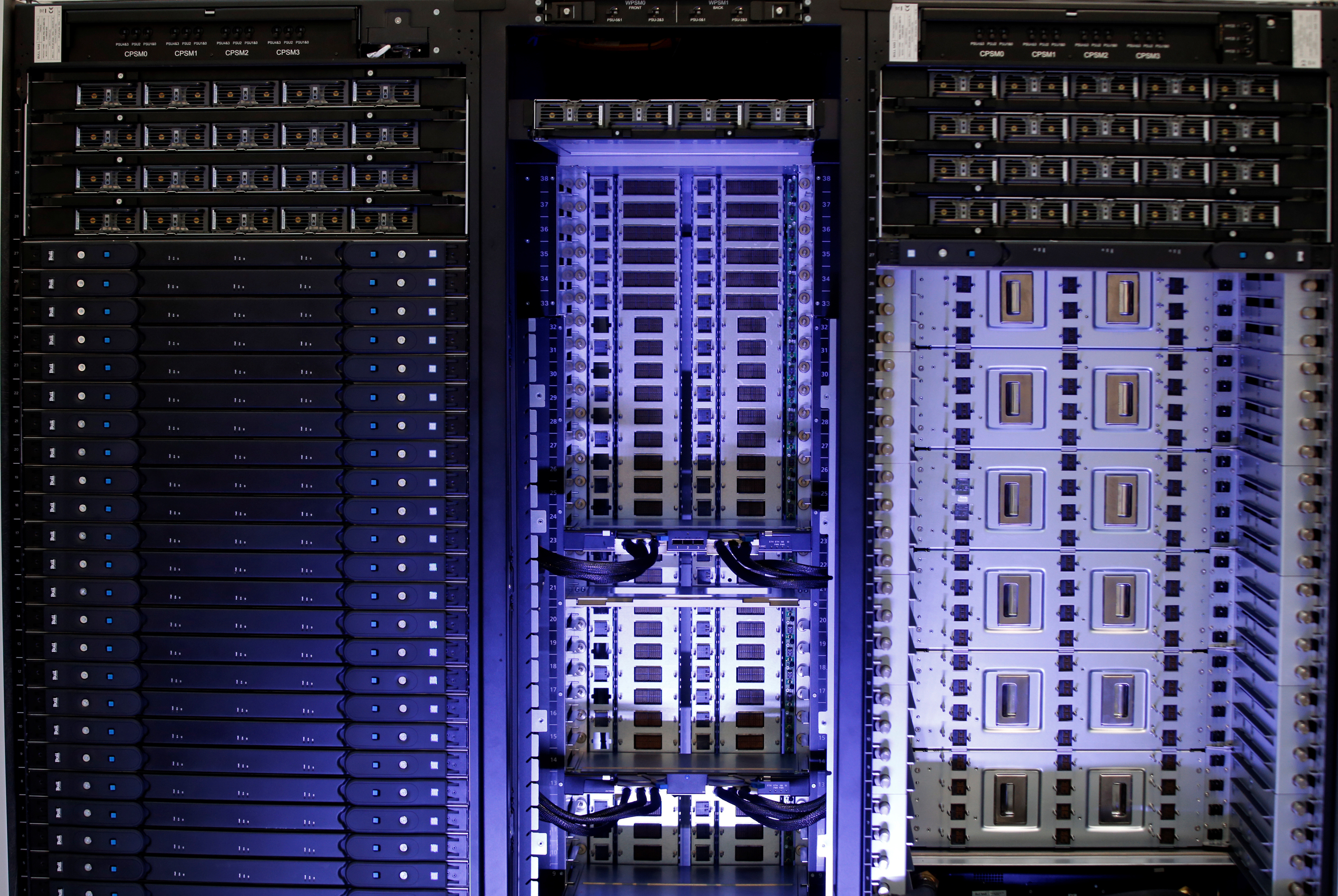 The new Bull sequana supercomputer is seen during presentation in Paris, France, April 12, 2016.