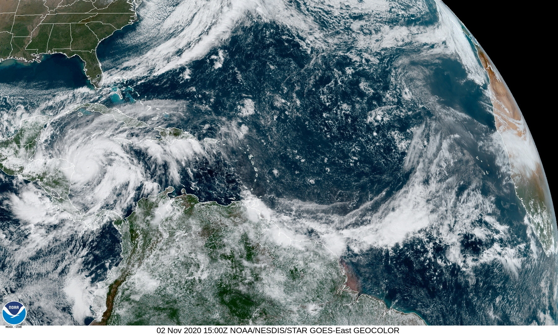 Hurricane Eta is seen churning in the Caribbean Sea toward Nicaragua in this satellite image taken November 2, 2020 over the Gulf of Mexico. U.S. National Oceanic and Atmospheric Administration (NOAA)/Handout via REUTERS   THIS IMAGE HAS BEEN SUPPLIED BY A THIRD PARTY. - RC26VJ9NYMOY
