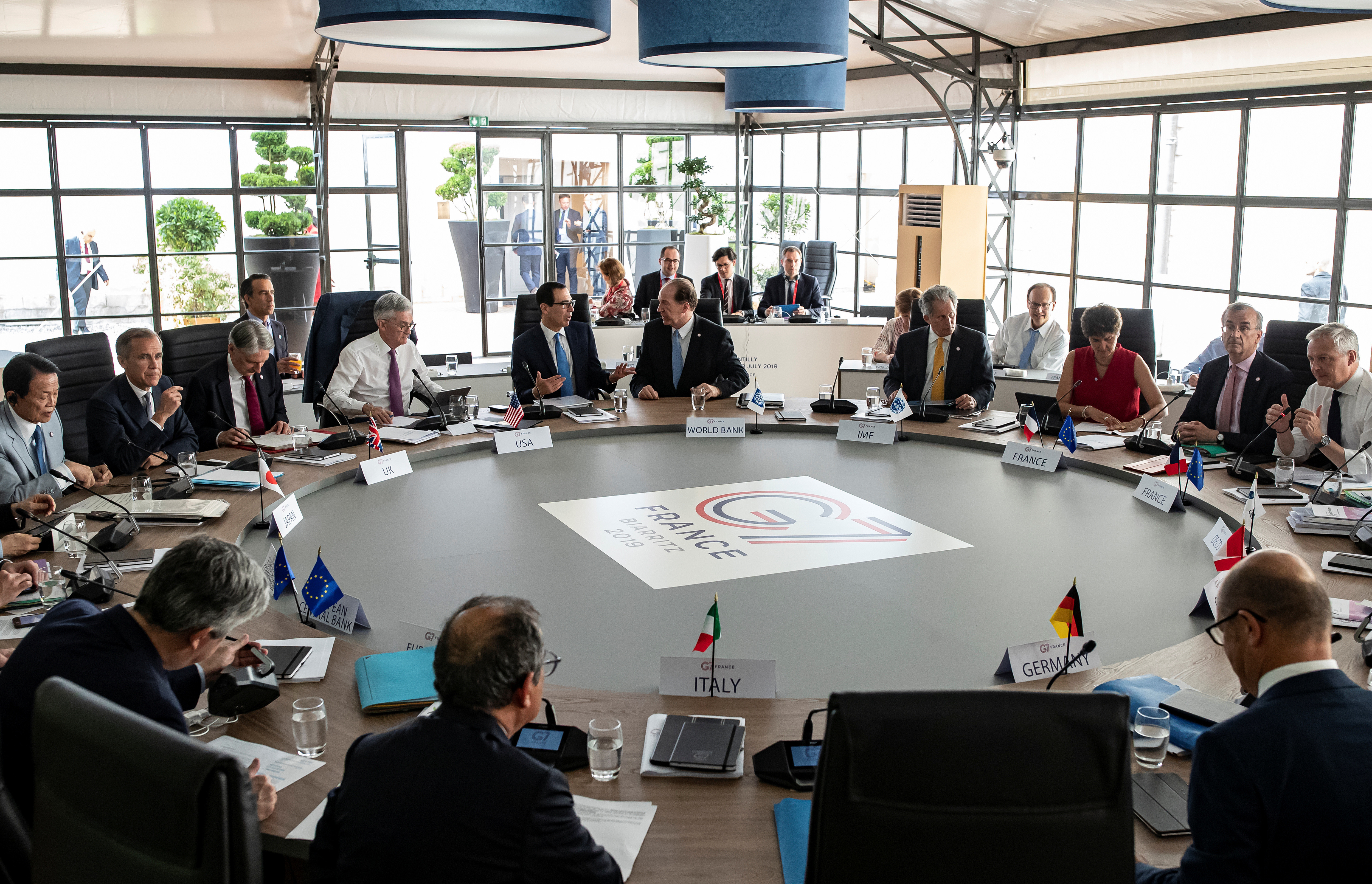 General view of a working session during the G7 finance ministers and central bank governors meeting in Chantilly, near Paris, France, July 17, 2019. Ian Langsdon/Pool via REUTERS - RC123C9AC950