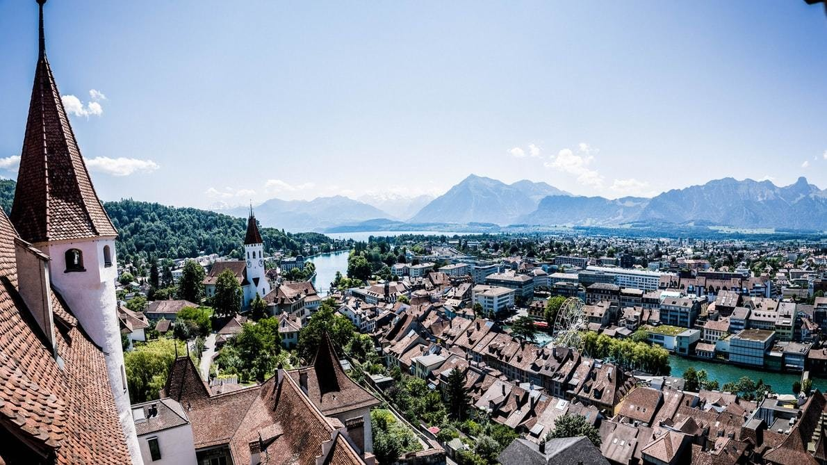An overview of Thun Castle in Switzerland.
