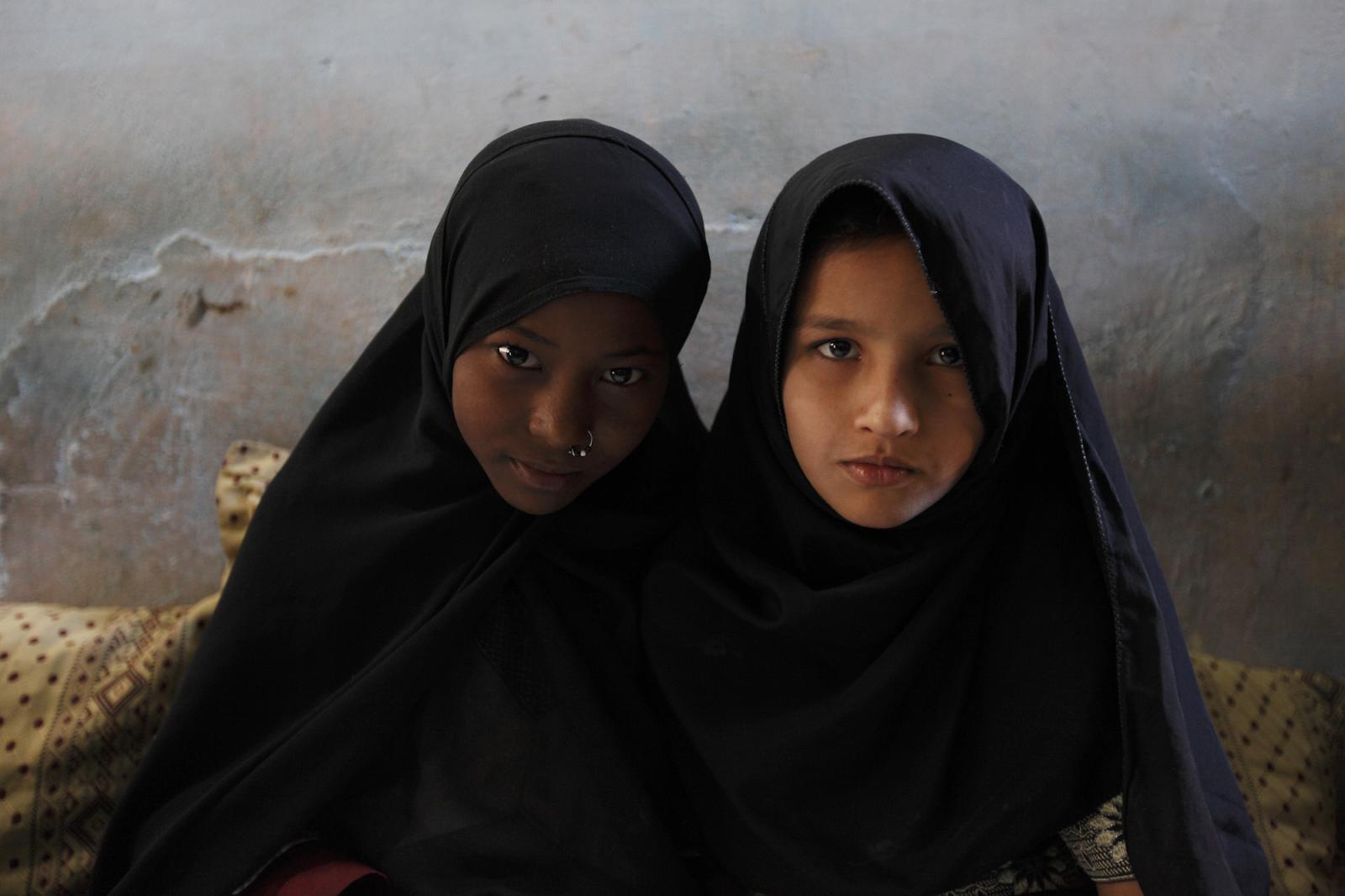 Two Sheedi girls in Karachi, Pakistan.