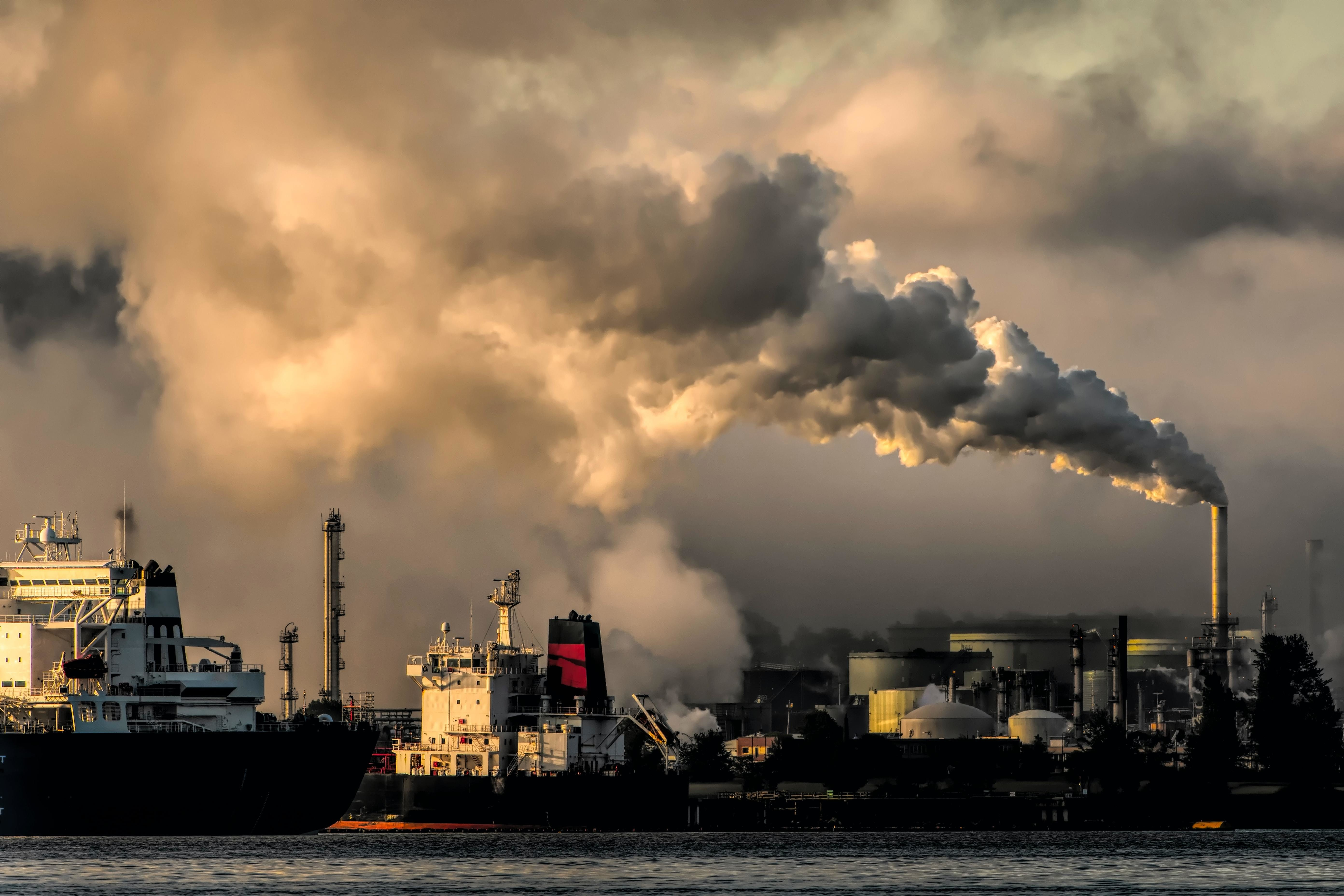 air pollution, shown coming out of this factory, can be very damaging to human health