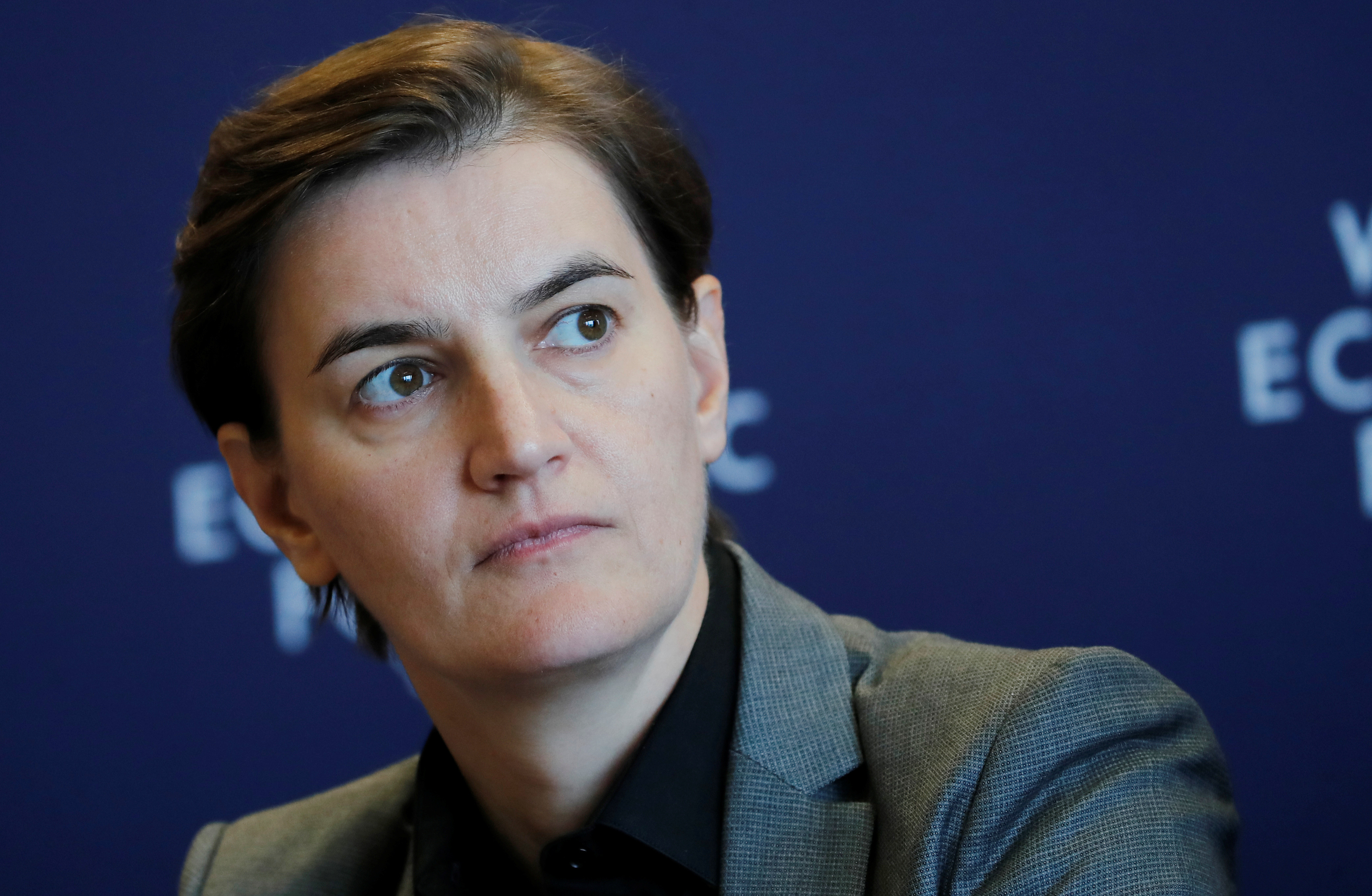 Ana Brnabić Prime Minister of Serbia attends a news conference after the Strategic Dialogue of the Western Balkans meeting at the World Economic Forum (WEF) in Cologny near Geneva, Switzerland, October 2, 2018. REUTERS/Denis Balibouse - RC12FCD49D30
