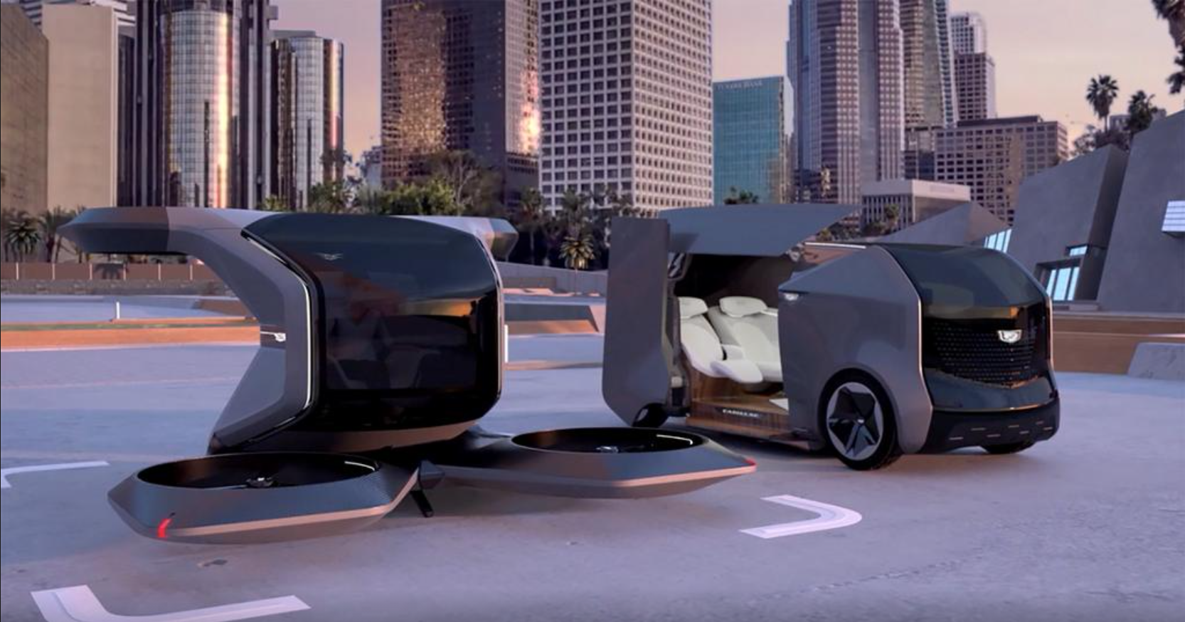 Two futuristic Cadillac concepts, an electric shuttle and an autonomous vertical take-off and landing (VTOL) drone, are seen in a still image from video presented by General Motors (GM) at the 2021 CES show on January 12, 2021.