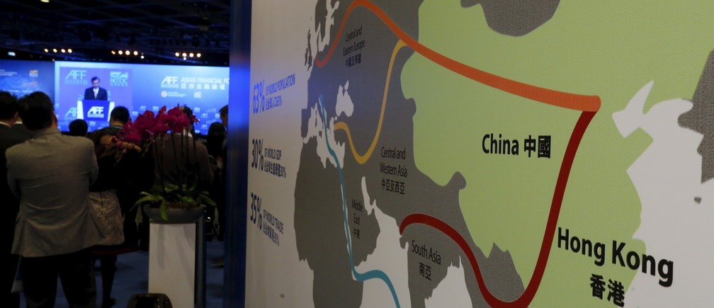 "A map illustrating China's silk road economic belt and the 21st century maritime silk road, or the so-called ""One Belt, One Road"" megaproject, is displayed at the Asian Financial Forum in Hong Kong, China January 18, 2016."