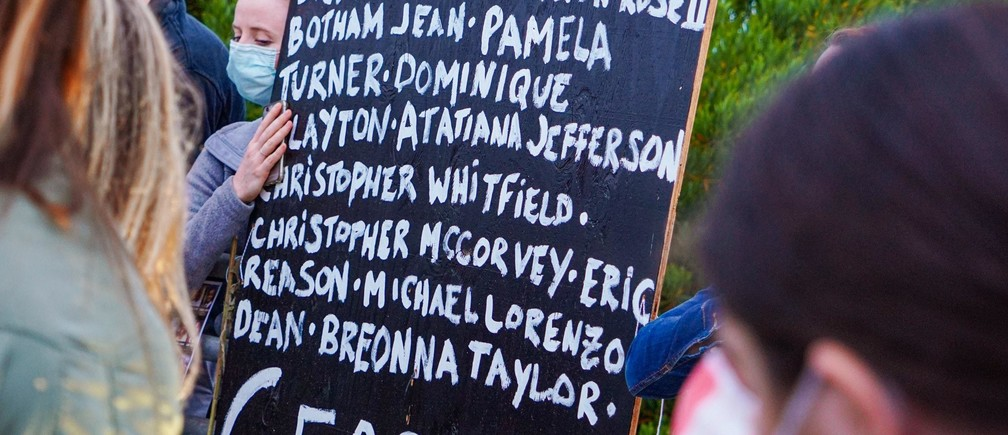 sign showing the names of black and african american people who have suffered injustice at the hands of the police at a Black Lives Matter protest
