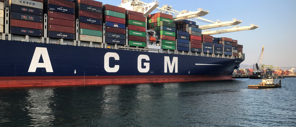 The CMA CGM George Washington cargo ship, flying Britain's flag, is pictured docked at the Port of Oakland in the San Francisco Bay, California, U.S. on August 11, 2017.