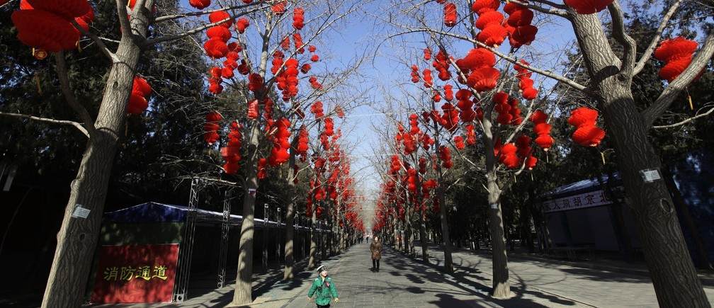 A girl walks along trees with decorative red lanterns ahead of the Chinese Lunar New Year celebrations at Ditan Park in Beijing January 24, 2011.