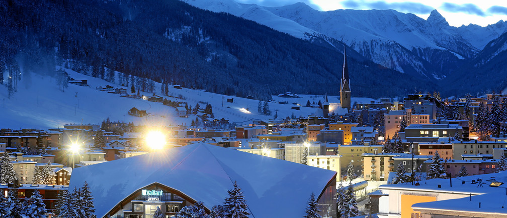 View of Davos with the congress center where the Annual Meeting 2016 of the World Economic Forum is taking place January 19, 2016.