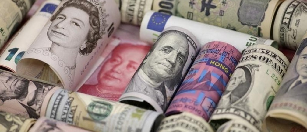 Euro, Hong Kong dollar, U.S. dollar, Japanese yen, British pound and Chinese 100-yuan banknotes are seen in a picture illustration shot January 21, 2016.