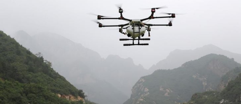 An aerosol drone flies during a training at LTFY drone training school on the outskirts of Beijing, China August 2, 2017. Picture taken August 2, 2017. REUTERS/Jason Lee