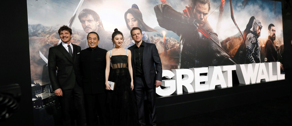 Stars Matt Damon, Jing Tian and Pedro Pascal and director Zhang Yimou (second left) pose at the Los Angeles premiere of The Great Wall.