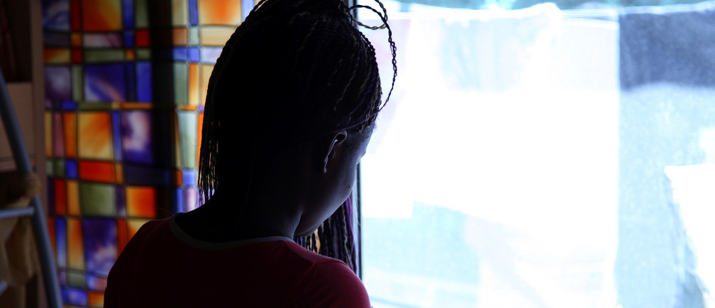 A victim in a social support centre for trafficked girls near Catania in Italy