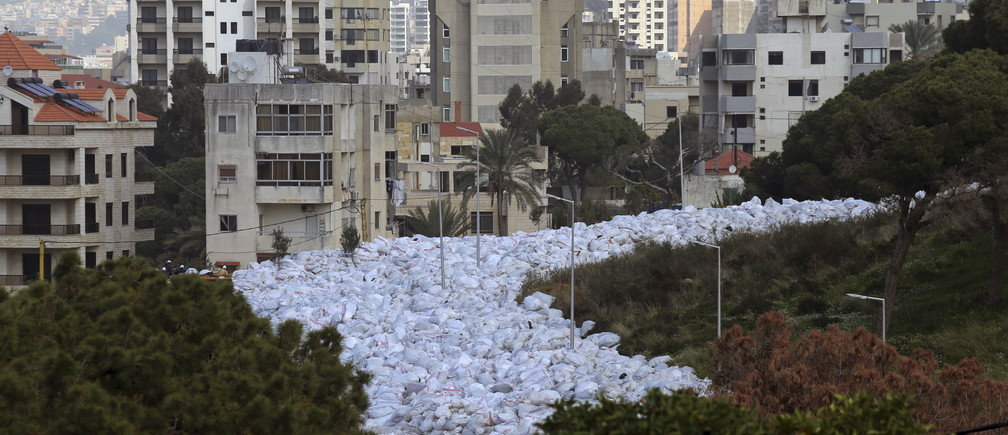 Packed garbage bags are pictured in Jdeideh, Beirut, Lebanon February 23, 2016. REUTERS/Hasan Shaaban - GF10000320326
