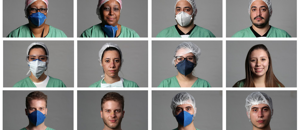 A combination photo shows healthcare workers Vasti Portela, 48, Jimmy Teixeira Acha, 30, Dieree?Katura Porto, 32, Luana Gisele Dadamo, 20, Felipe Daiko, 25, Rodrigo Meirelles, 23, Caroline Pereira, 20 and Daniela Quiaratto, 42, as they pose for pictures at a field hospital set up at a sports gym, to treat patients suffering from the coronavirus disease (COVID-19) in Santo Andre, Sao Paulo state, Brazil, May 6, 2020. Pictures taken May 6, 2020. REUTERS/Amanda Perobelli - RC2UJG9UDMKU
