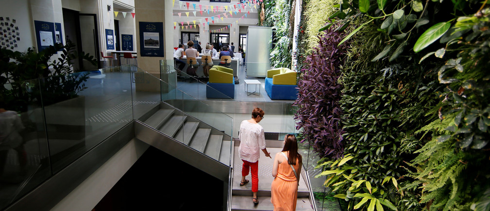 A view shows the working space with a vertical garden at Le Village by CA, a value-creating start-up incubator of banking group Credit Agricole, in Paris, France, July 7, 2017. Picture taken July 7, 2017. REUTERS/Gonzalo Fuentes - RTX3C60V