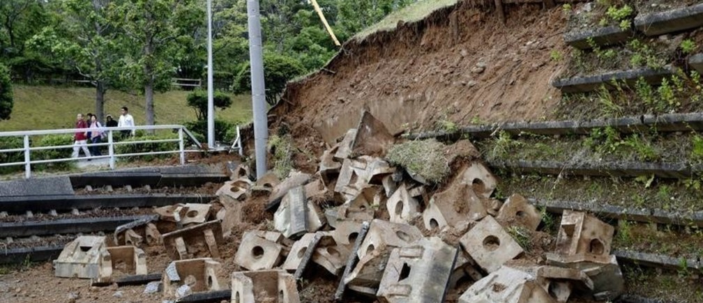 Collapsed slope caused by an earthquake is seen in Murakami, Niigata prefecture, Japan June 19, 2019, in this photo taken by Kyodo. Mandatory credit Kyodo/via REUTERS ATTENTION EDITORS - THIS IMAGE WAS PROVIDED BY A THIRD PARTY. MANDATORY CREDIT. JAPAN OUT. NO COMMERCIAL OR EDITORIAL SALES IN JAPAN. - RC135A109560