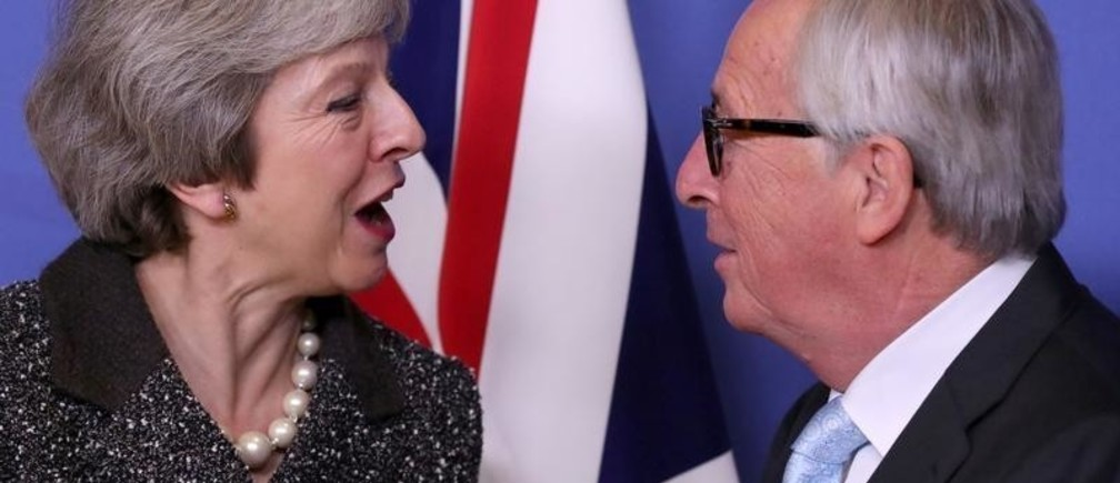 British Prime Minister Theresa May meets with European Commission President Jean-Claude Juncker to discuss Brexit, at the European Commission headquarters in Brussels, Belgium December 11, 2018. REUTERS/Yves Herman - RC1BAE782490