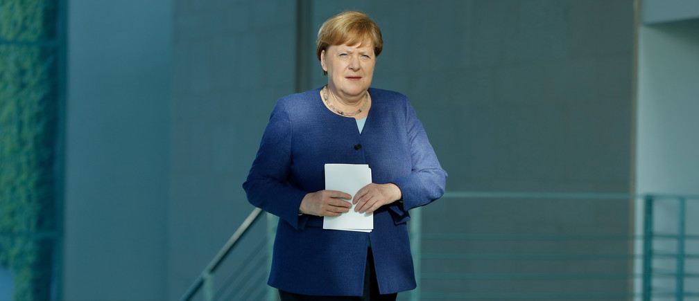 German Chancellor Angela Merkel arrives for a news conference following a meeting with international economic and financial organisations at the Chancellery in Berlin, Germany May 20, 2020, on the effects of the novel coronavirus COVID-19 pandemic. Odd Andersen/Pool via REUTERS - RC2GSG9JP84O