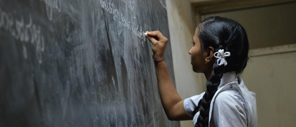 Bengaluru, India girl chalkboard school education