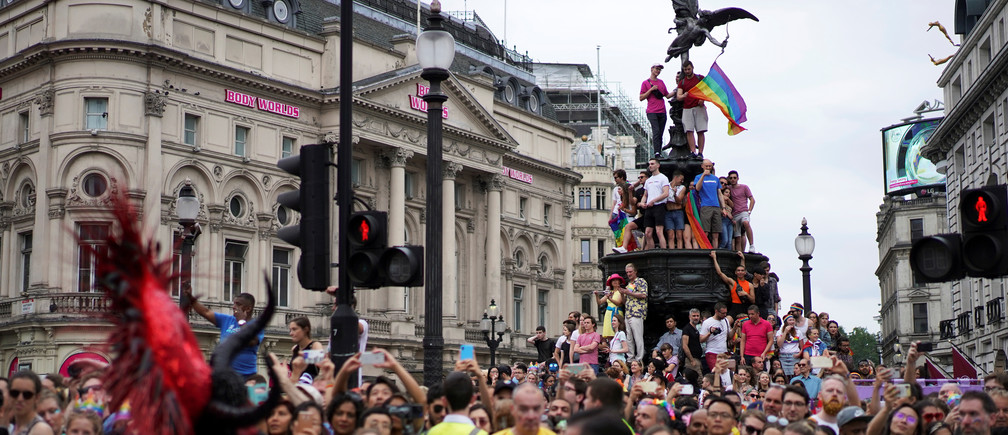 The Pride march in London, which has been postponed this year because of the coronavirus.