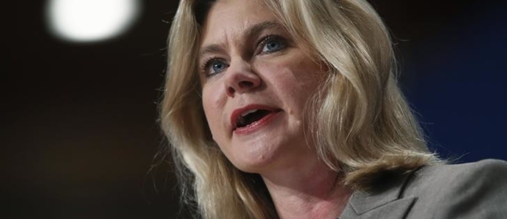 Britain's International Development Secretary Justine Greening speaks on the final day of the Conservative Party Conference in Birmingham, central England October 1, 2014.