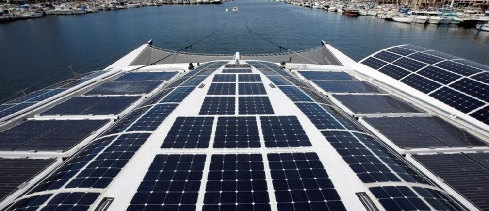 Solar panels are seen on Energy Observer, the first self-sustainable eco-friendly boat, moored at the Marseille harbour, before leaving for a Mediterranean tour, France, March 28, 2018.