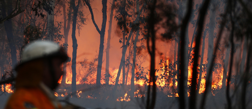 A firefighter attempts to extinguish a bushfire in Casthereagh, near Sydney September 10, 2013. More than 550 firefighters are working on several bush fires across New South Wales (NSW) that have left one house destroyed and six firefighters injured, according to the NSW Rural Fire Services. REUTERS/Daniel Munoz (AUSTRALIA - Tags: DISASTER) - GM1E99A1D8K01