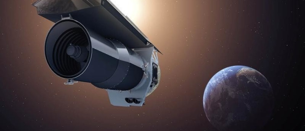 """An artist's conception shows NASA's Spitzer Space Telescope as it begins its """"Beyond"""" mission phase on Oct. 1, 2016.   NASA/JPL-Caltech/T. Pyle (IPAC)/Handout via REUTERS  ATTENTION EDITORS - THIS IMAGE WAS PROVIDED BY A THIRD PARTY. - RC13481C1FE0"""
