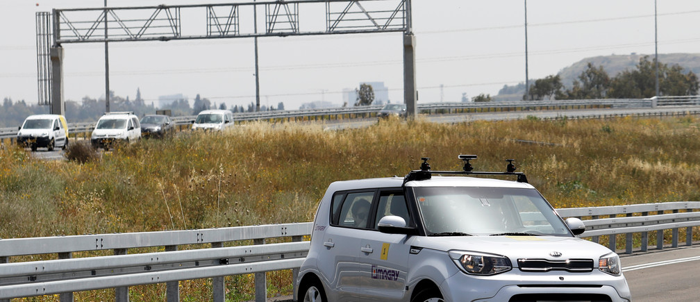A Kia Soul, modified as an autonomous vehicle by the Imagry startup company, is seen ahead of a driving demonstration near Shfayim, Israel April 17, 2018. Picture taken April 17, 2018. REUTERS/Nir Elias - RC1C5687C9C0
