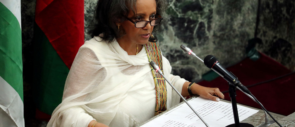 Newly elected President Sahle-Work Zewde addresses the House of Peoples' Representatives in Addis Ababa, Ethiopia October 25, 2018. REUTERS/Tiksa Negeri - RC121F910040