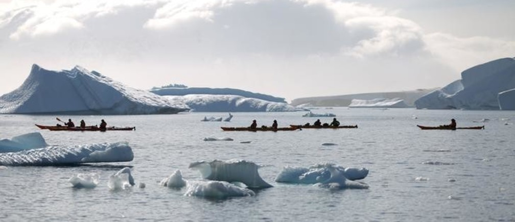 Tourists travel to Curverville Island, Antarctica, February 15, 2018. Reuters/Alexandre Meneghini