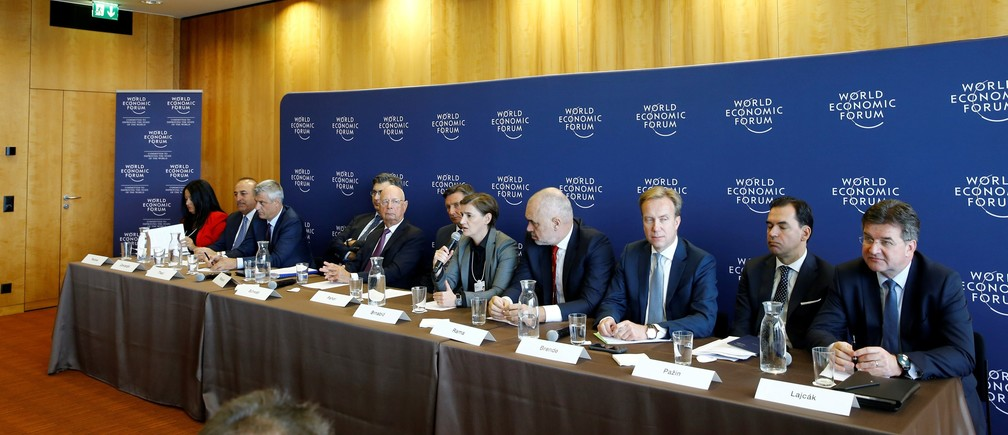 Ana Brnabic Prime Minister of Serbia (C) talks during the news conference after the Strategic Dialogue of the Western Balkans meeting at the World Economic Forum (WEF) in Cologny near Geneva, Switzerland, October 2, 2018. REUTERS/Denis Balibouse - RC17EB798F40