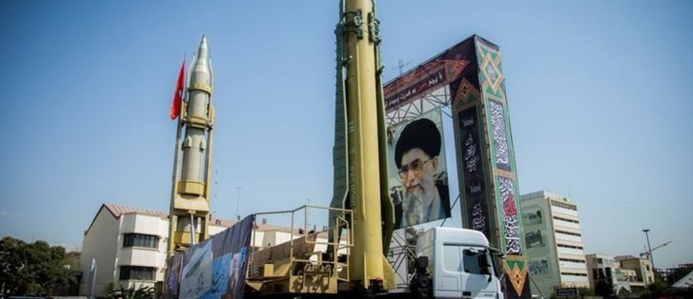 A display featuring missiles and a portrait of Iran's Supreme Leader Ayatollah Ali Khamenei is seen at Baharestan Square in Tehran, Iran September 27, 2017. Picture taken September 27, 2017. Nazanin Tabatabaee Yazdi/TIMA via REUTERS ATTENTION EDITORS - THIS IMAGE WAS PROVIDED BY A THIRD PARTY.