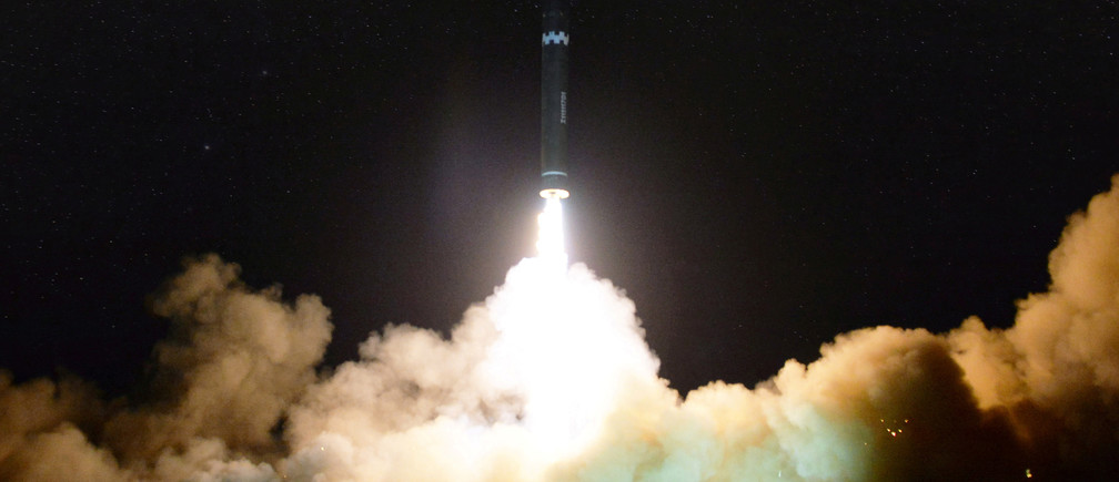 A view of the newly developed intercontinental ballistic rocket Hwasong-15's test that was successfully launched is seen in this undated photo released by North Korea's Korean Central News Agency (KCNA) in Pyongyang November 30, 2017. REUTERS/KCNA RC126BE71230