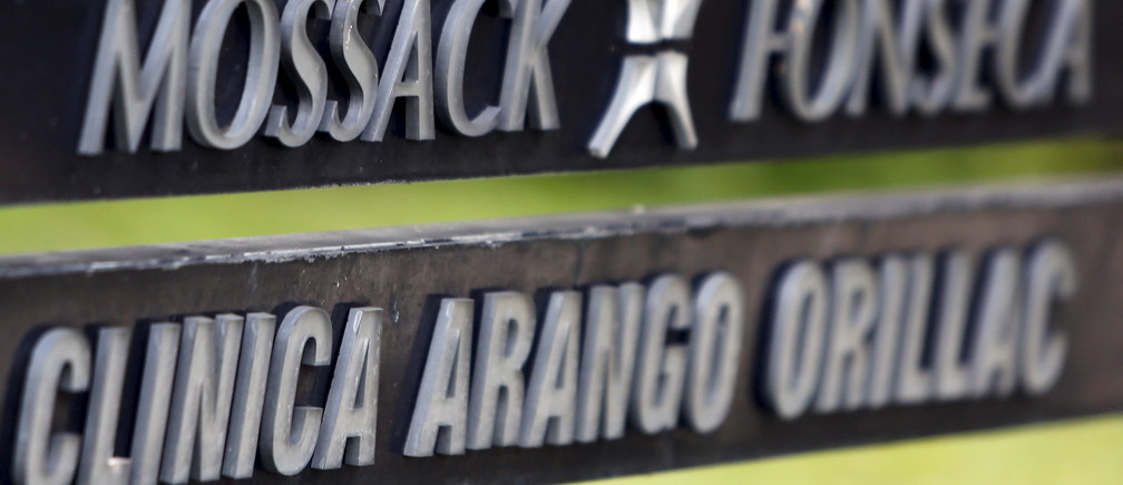 A company list showing the Mossack Fonseca law firm is pictured on a sign at the Arango Orillac Building in Panama City April 3, 2016.