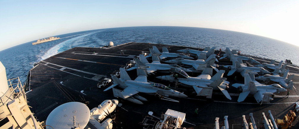 The Nimitz-class aircraft carrier USS Abraham Lincoln (CVN 72) breaks away from the fast combat support ship USNS Arctic (T-AOE 8) after an underway replenishment-at-sea in the Mediterranean Sea in this April 29, 2019 photo supplied by the U.S. Navy. U.S. Navy/Mass Communication Specialist 3rd Class Garrett LaBarge/Handout via REUTERS  ATTENTION EDITORS -THIS IMAGE WAS PROVIDED BY A THIRD PARTY - RC13F0257520