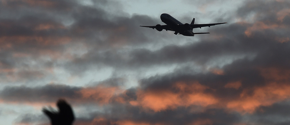 A bird passes in the foreground as a passenger aircraft makes it's final landing approach towards Heathrow Airport at dawn in west London Britain, April 18, 2016.   REUTERS/Toby Melville/File Photo - LR1ECA60NJ7HF