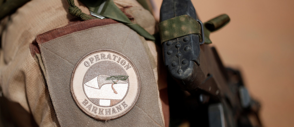 A close-up of the France's Barkhane operation patch worn by French troops in Africa's Sahel region as part of the anti-insurgent Operation Barkhane is pictured in Tin Hama, Mali, October 19, 2017. Picture taken October 19, 2017. REUTERS/Benoit Tessier - RC1F2121CBE0