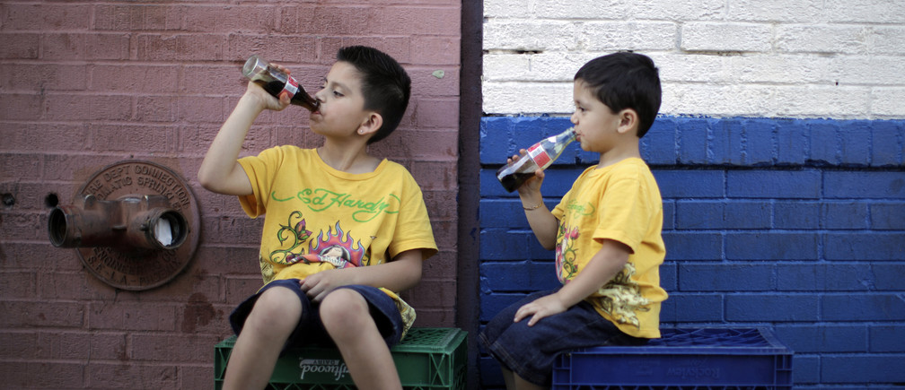 Jessie Rodriguez, 8, and his brother Christopher Rodriguez, 3, drink soda as they sit in the shade on a hot day in downtown Los Angeles April 8, 2010. REUTERS/Lucy Nicholson (UNITED STATES - Tags: SOCIETY ENVIRONMENT) - RTR2CLB7