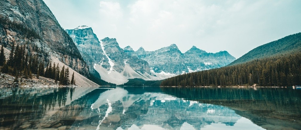 Snowy mountains, Moraine Lake, Canada