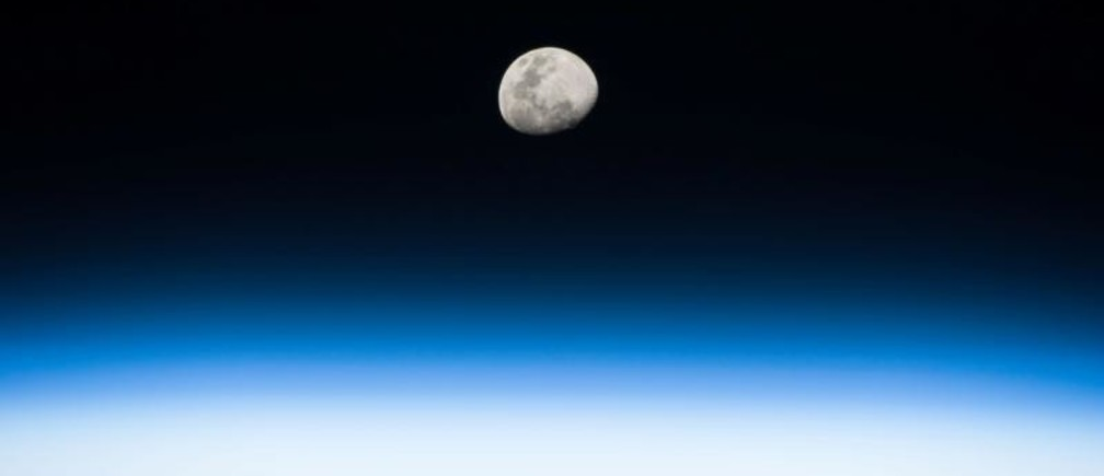 The moon rises in this photo taken in low Earth orbit by NASA astronaut Randy Bresnik from the International Space Station on August 3, 2017.