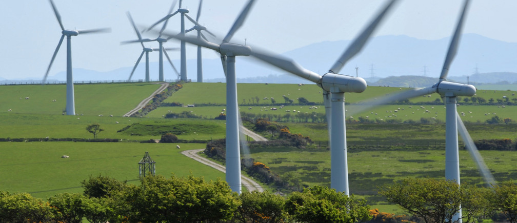 A windfarm is seen on Anglesey, north Wales May 2, 2011.